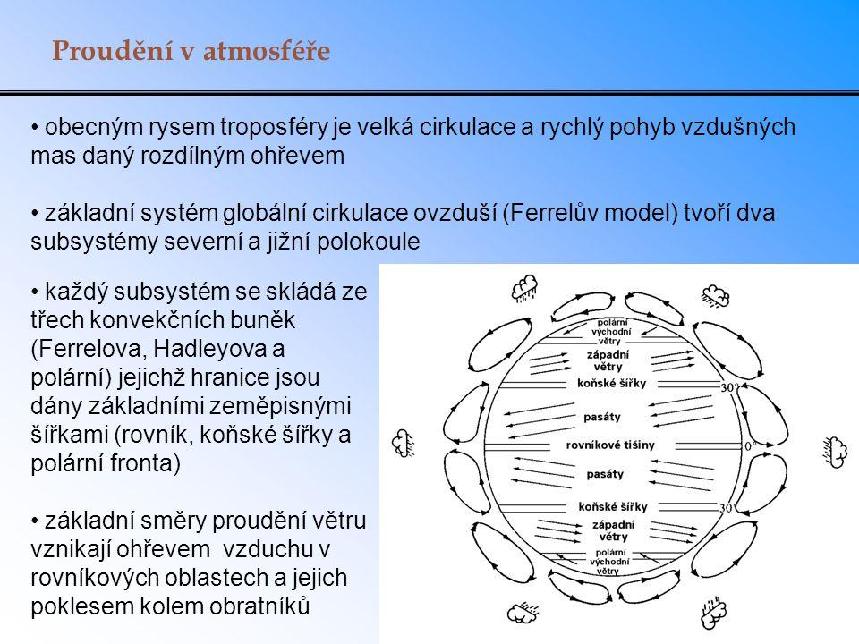 Proudění v atmosféře obecným rysem troposféry je velká cirkulace a rychlý pohyb vzdušných mas daný rozdílným ohřevem základní systém globální cirkulac
