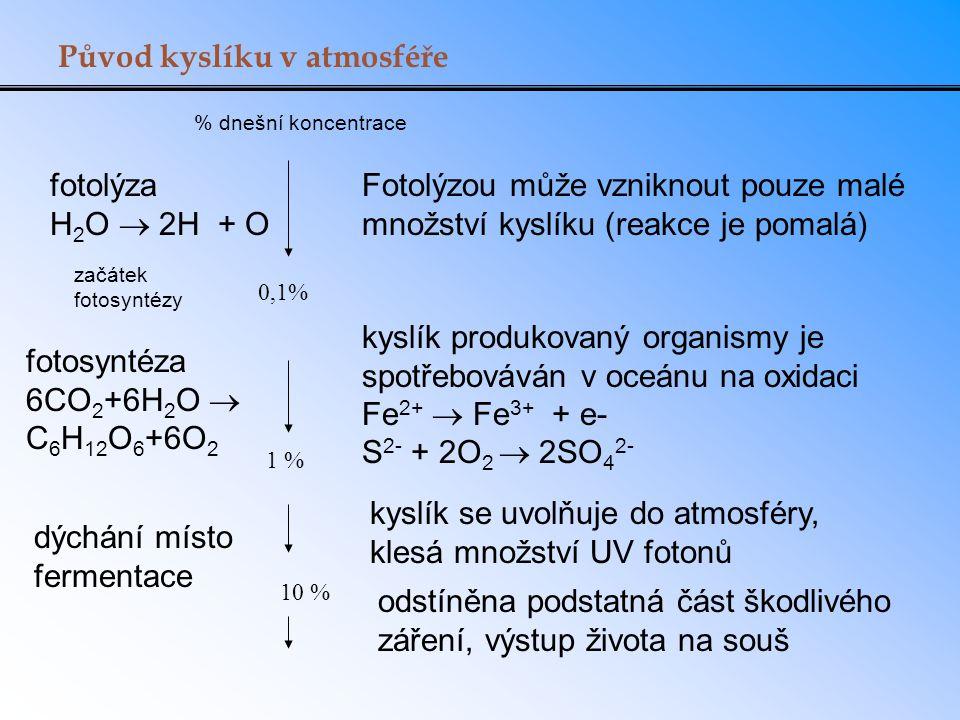 Původ kyslíku v atmosféře 0,1% 1 % začátek fotosyntézy kyslík produkovaný organismy je spotřebováván v oceánu na oxidaci Fe 2+  Fe 3+ + e- S 2- + 2O