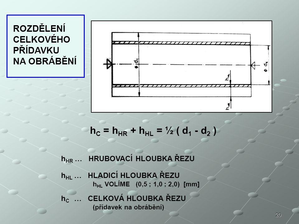 20 h C = h HR + h HL = ½ ( d 1 - d 2 ) h HR … HRUBOVACÍ HLOUBKA ŘEZU h HL … HLADICÍ HLOUBKA ŘEZU h HL VOLÍME (0,5 ; 1,0 ; 2,0) [mm] h C … CELKOVÁ HLOUBKA ŘEZU (přídavek na obrábění) ROZDĚLENÍ CELKOVÉHO PŘÍDAVKU NA OBRÁBĚNÍ