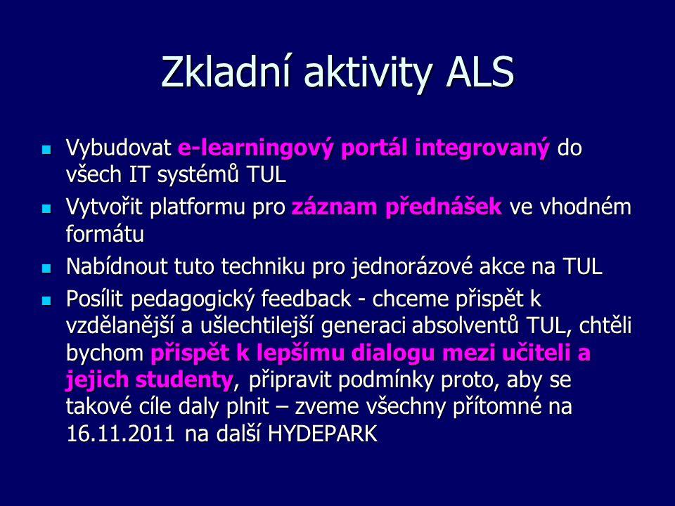 Zkladní aktivity ALS Vybudovat e-learningový portál integrovaný do všech IT systémů TUL Vybudovat e-learningový portál integrovaný do všech IT systémů TUL Vytvořit platformu pro záznam přednášek ve vhodném formátu Vytvořit platformu pro záznam přednášek ve vhodném formátu Nabídnout tuto techniku pro jednorázové akce na TUL Nabídnout tuto techniku pro jednorázové akce na TUL Posílit pedagogický feedback - chceme přispět k vzdělanější a ušlechtilejší generaci absolventů TUL, chtěli bychom přispět k lepšímu dialogu mezi učiteli a jejich studenty, připravit podmínky proto, aby se takové cíle daly plnit – zveme všechny přítomné na 16.11.2011 na další HYDEPARK Posílit pedagogický feedback - chceme přispět k vzdělanější a ušlechtilejší generaci absolventů TUL, chtěli bychom přispět k lepšímu dialogu mezi učiteli a jejich studenty, připravit podmínky proto, aby se takové cíle daly plnit – zveme všechny přítomné na 16.11.2011 na další HYDEPARK