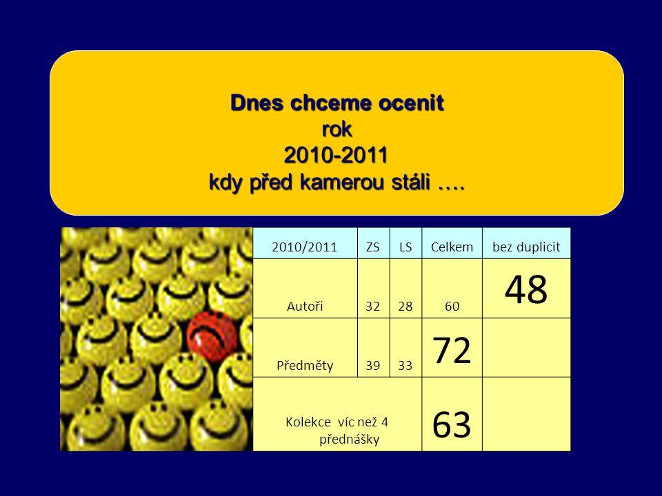 Dnes chceme ocenit rok 2010-2011 kdy před kamerou stáli …. 2010/2011ZSLSCelkembez duplicit Autoři322860 48 Předměty3933 72 Kolekce víc než 4 přednášky
