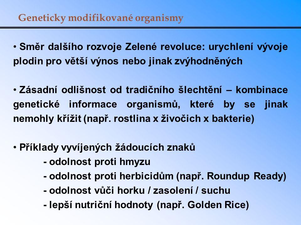 Geneticky modifikované organismy Směr dalšího rozvoje Zelené revoluce: urychlení vývoje plodin pro větší výnos nebo jinak zvýhodněných Zásadní odlišno