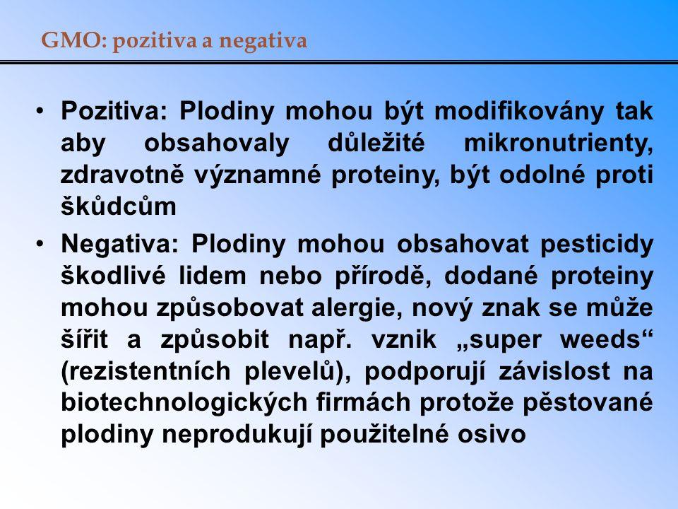 GMO: pozitiva a negativa Pozitiva: Plodiny mohou být modifikovány tak aby obsahovaly důležité mikronutrienty, zdravotně významné proteiny, být odolné