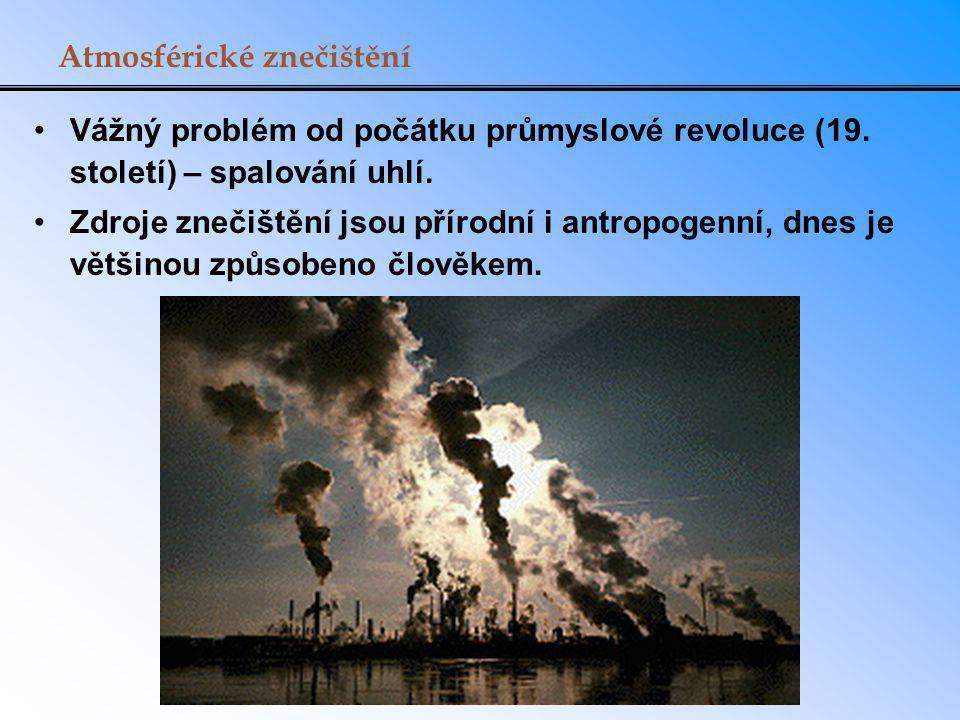 Přírodní zdroje atmosférického znečištění ZdrojProdukuje SopkySO 2, pevné částice Lesní požáryCO a CO 2, NO x, pevné částice Rostlinyuhlovodíky, pyly Odumírající rostlinyCH 4, H 2 S Půdaprach a viry Oceánslané aerosoly, pevné částice