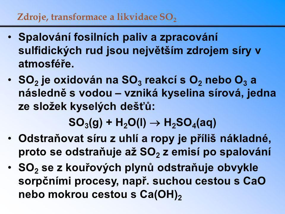 Jedna z technologií odstraňování SO 2 z kouřových plynů Další oxidací vzniká CaSO 4 ·2H 2 O – tzv.