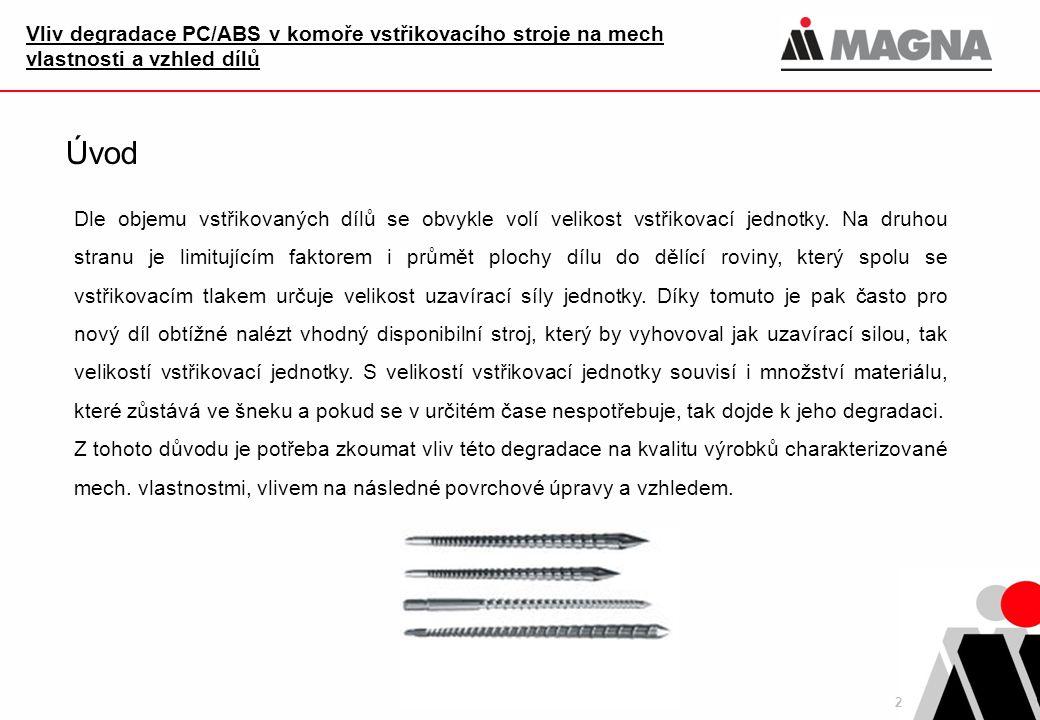 2 Vliv degradace PC/ABS v komoře vstřikovacího stroje na mech vlastnosti a vzhled dílů Úvod Dle objemu vstřikovaných dílů se obvykle volí velikost vst