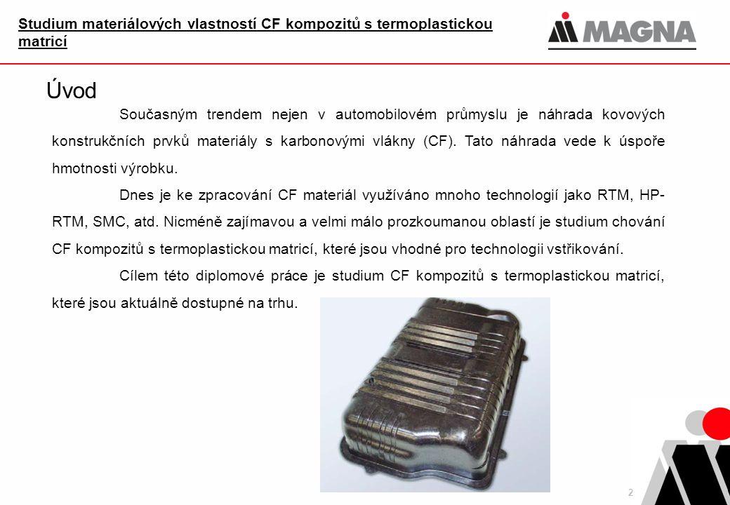 2 Studium materiálových vlastností CF kompozitů s termoplastickou matricí Úvod Současným trendem nejen v automobilovém průmyslu je náhrada kovových konstrukčních prvků materiály s karbonovými vlákny (CF).