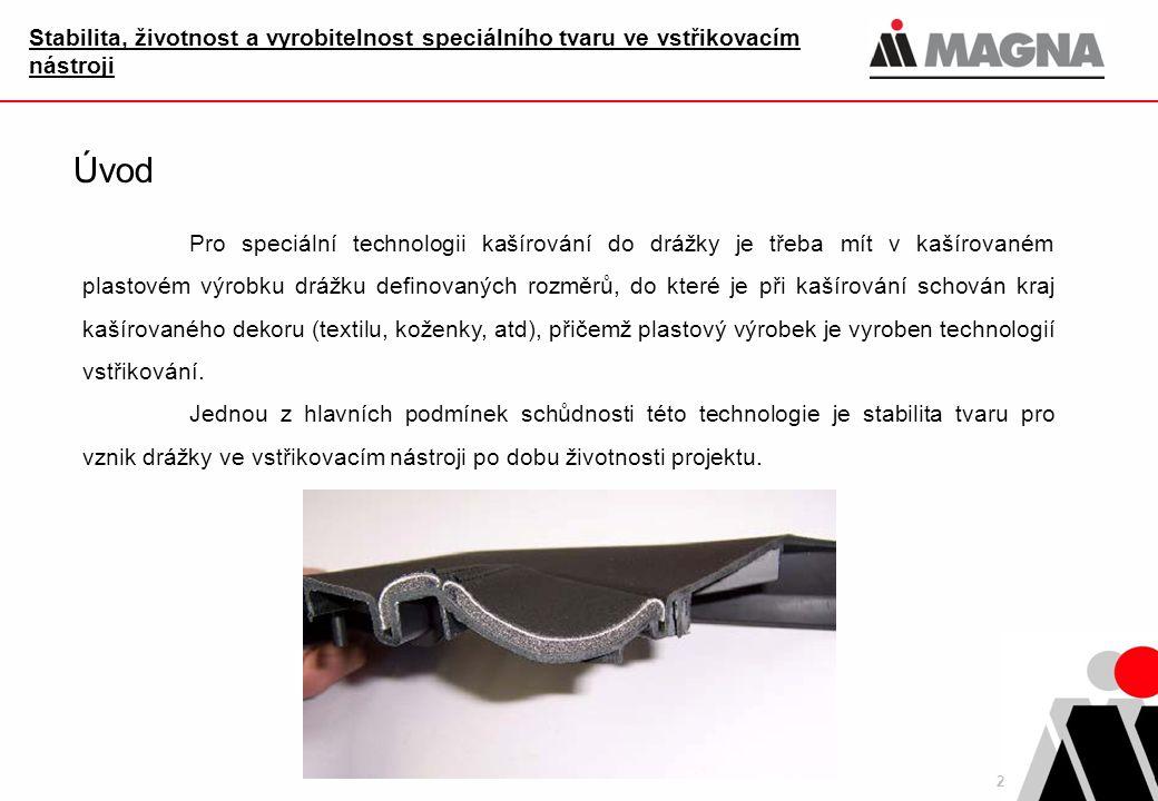 2 Stabilita, životnost a vyrobitelnost speciálního tvaru ve vstřikovacím nástroji Úvod Pro speciální technologii kašírování do drážky je třeba mít v k