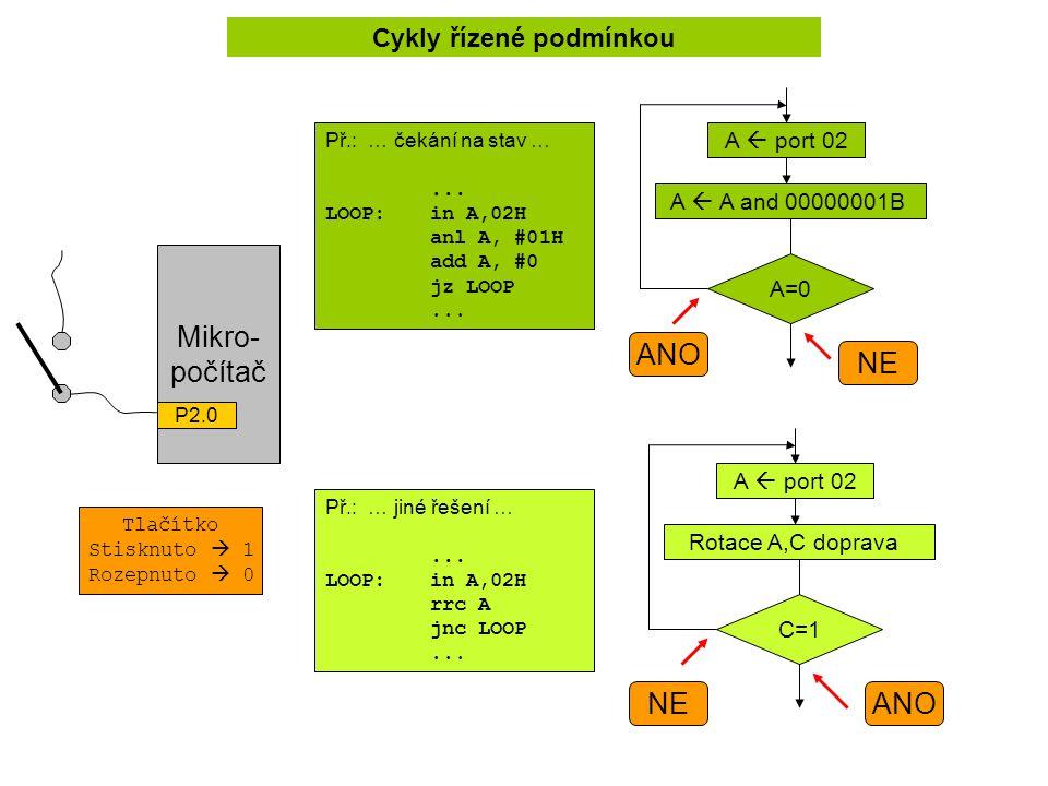 Cykly řízené podmínkou Př.: … čekání na stav …...LOOP:in A,02H anl A, #01H add A, #0 jz LOOP...
