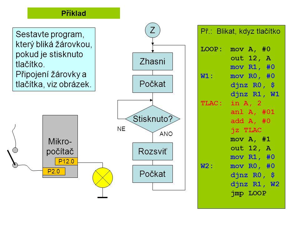 Mikro- počítač P12.0 P2.0 Příklad Zhasni Počkat Rozsviť Počkat Z Stisknuto? NE ANO Př.: Blikat, kdyz tlačítko LOOP:mov A, #0 out 12, A mov R1, #0 W1: