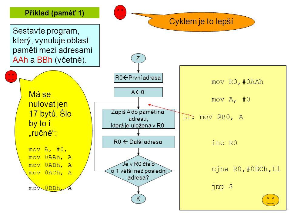 Příklad (paměť 1) Sestavte program, který, vynuluje oblast paměti mezi adresami AAh a BBh (včetně).
