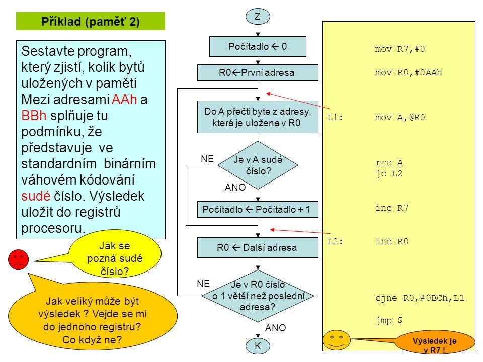 Příklad (paměť 2) Sestavte program, který zjistí, kolik bytů uložených v paměti Mezi adresami AAh a BBh splňuje tu podmínku, že představuje ve standardním binárním váhovém kódování sudé číslo.