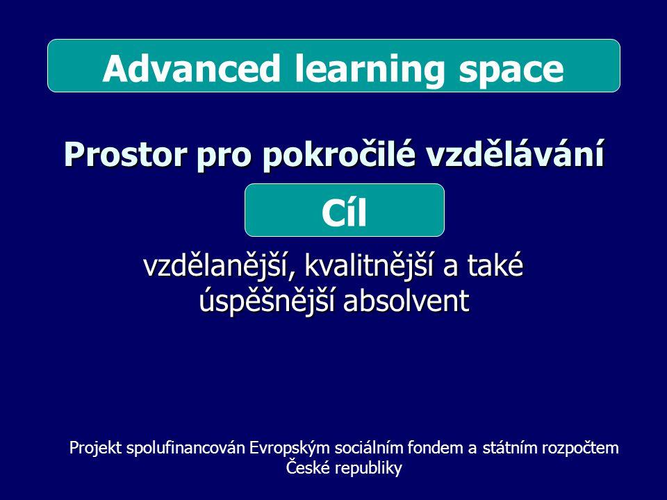 Prostor pro pokročilé vzdělávání vzdělanější, kvalitnější a také úspěšnější absolvent Cíl Projekt spolufinancován Evropským sociálním fondem a státním rozpočtem České republiky Advanced learning space