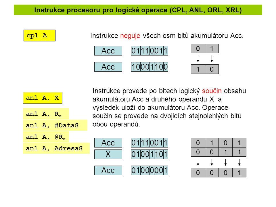 Instrukce procesoru pro logické operace (CPL, ANL, ORL, XRL) cpl A Instrukce neguje všech osm bitů akumulátoru Acc. anl A, X Instrukce provede po bite