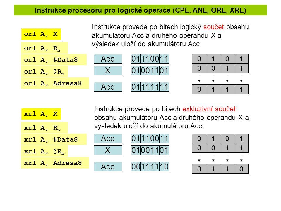orl A, X xrl A, X Instrukce provede po bitech logický součet obsahu akumulátoru Acc a druhého operandu X a výsledek uloží do akumulátoru Acc. Instrukc