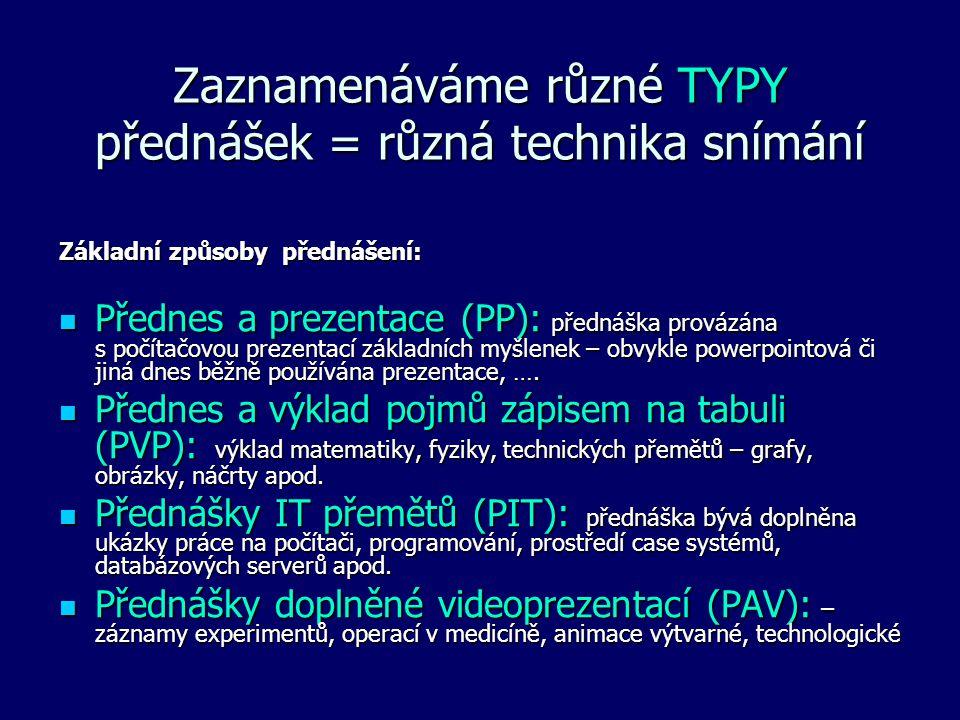 Zaznamenáváme různé TYPY přednášek = různá technika snímání Základní způsoby přednášení: Přednes a prezentace (PP): přednáška provázána s počítačovou prezentací základních myšlenek – obvykle powerpointová či jiná dnes běžně používána prezentace, ….