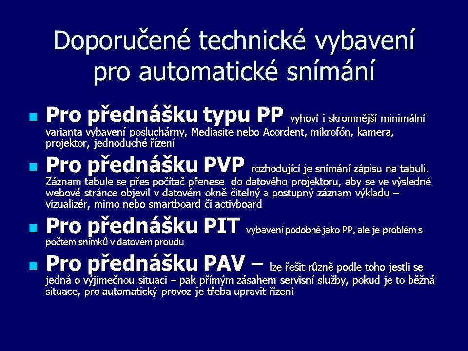Doporučené technické vybavení pro automatické snímání Pro přednášku typu PP vyhoví i skromnější minimální varianta vybavení posluchárny, Mediasite neb