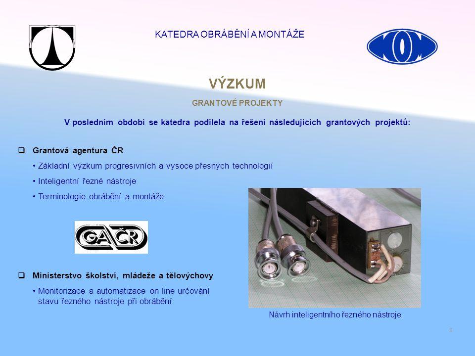 8  Grantová agentura ČR Základní výzkum progresivních a vysoce přesných technologií Inteligentní řezné nástroje Terminologie obrábění a montáže GRANT