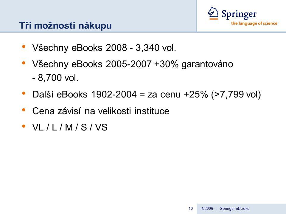 4/2006 | Springer eBooks10 Tři možnosti nákupu Všechny eBooks 2008 - 3,340 vol.