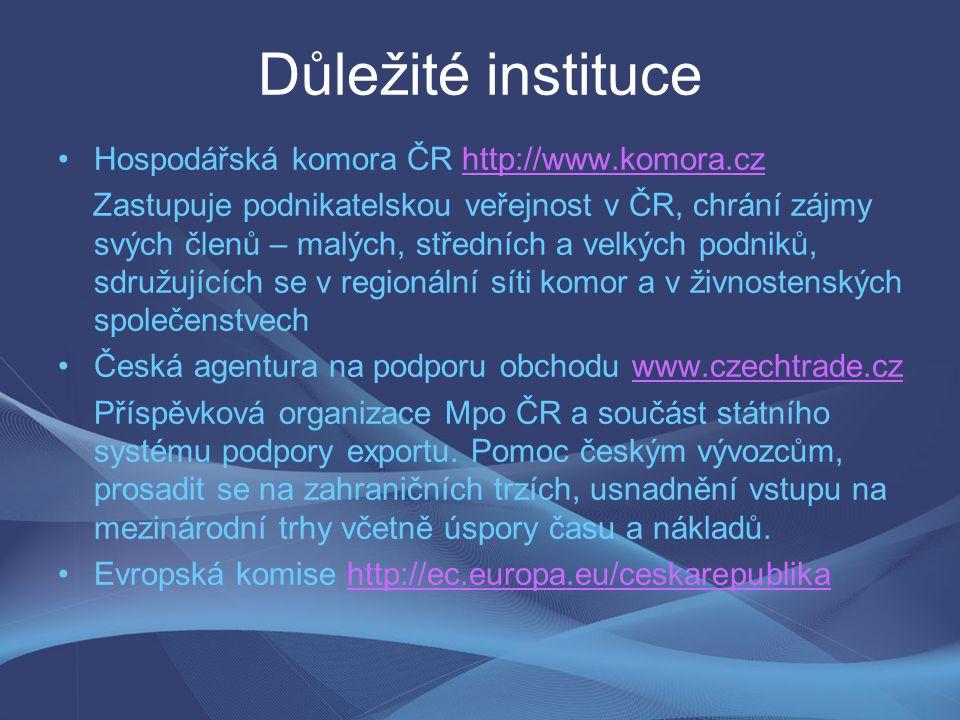 Důležité instituce Hospodářská komora ČR http://www.komora.czhttp://www.komora.cz Zastupuje podnikatelskou veřejnost v ČR, chrání zájmy svých členů –