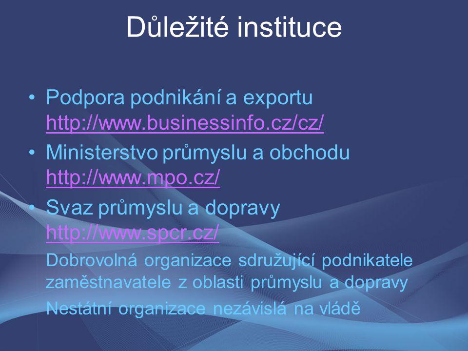 Důležité instituce Podpora podnikání a exportu http://www.businessinfo.cz/cz/ http://www.businessinfo.cz/cz/ Ministerstvo průmyslu a obchodu http://ww