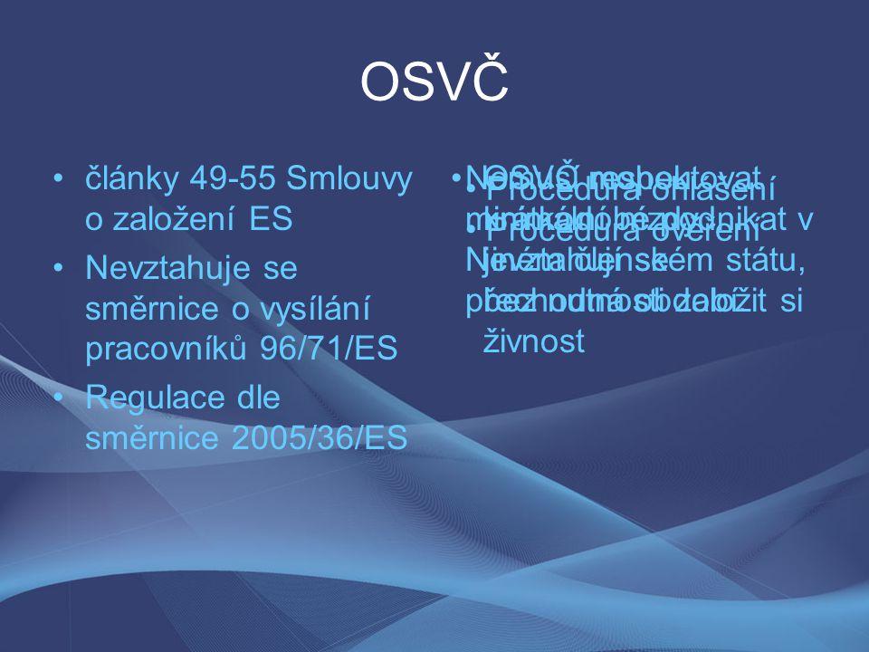 OSVČ články 49-55 Smlouvy o založení ES Nevztahuje se směrnice o vysílání pracovníků 96/71/ES Regulace dle směrnice 2005/36/ES OSVČ mohou krátkodobé p