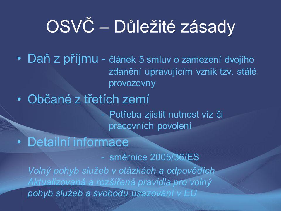 OSVČ – Důležité zásady Daň z příjmu - článek 5 smluv o zamezení dvojího zdanění upravujícím vznik tzv. stálé provozovny Občané z třetích zemí - Potřeb
