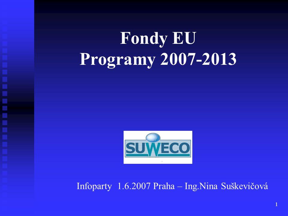 1 Fondy EU Programy 2007-2013 Infoparty 1.6.2007 Praha – Ing.Nina Suškevičová