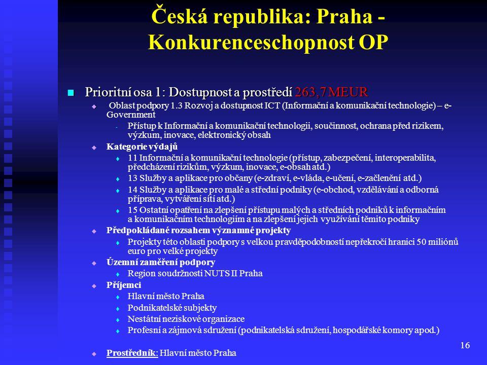 16 Česká republika: Praha - Konkurenceschopnost OP Prioritní osa 1: Dostupnost a prostředí 263,7 MEUR Prioritní osa 1: Dostupnost a prostředí 263,7 ME