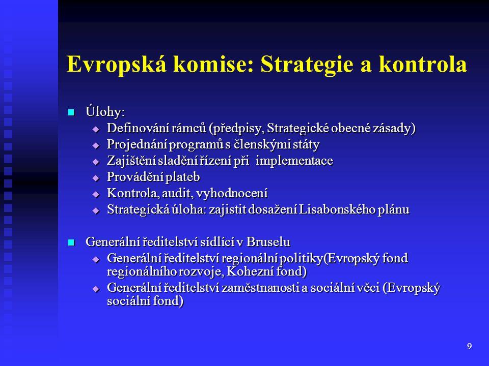 9 Evropská komise: Strategie a kontrola Úlohy: Úlohy:  Definování rámců (předpisy, Strategické obecné zásady)  Projednání programů s členskými státy