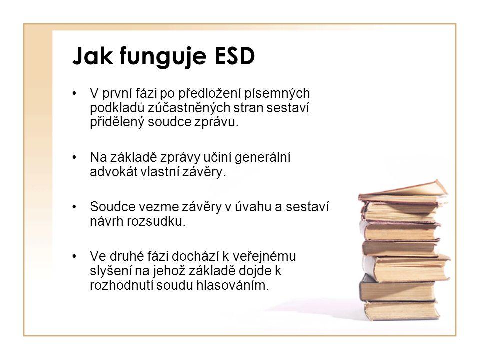 Jak funguje ESD V první fázi po předložení písemných podkladů zúčastněných stran sestaví přidělený soudce zprávu. Na základě zprávy učiní generální ad