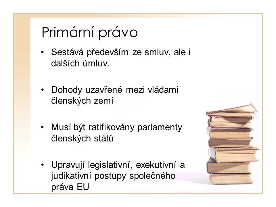 Primární právo Sestává především ze smluv, ale i dalších úmluv. Dohody uzavřené mezi vládami členských zemí Musí být ratifikovány parlamenty členských