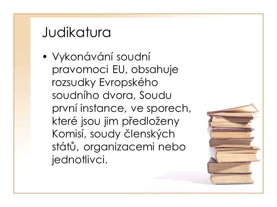 Judikatura Vykonávání soudní pravomoci EU, obsahuje rozsudky Evropského soudního dvora, Soudu první instance, ve sporech, které jsou jim předloženy Ko