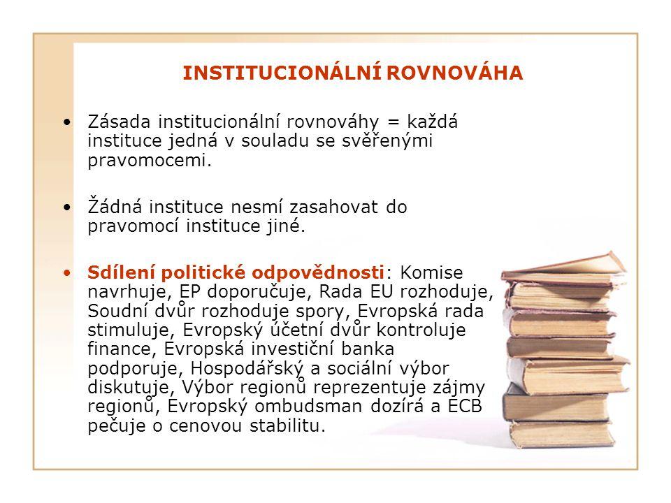 INSTITUCIONÁLNÍ ROVNOVÁHA Zásada institucionální rovnováhy = každá instituce jedná v souladu se svěřenými pravomocemi. Žádná instituce nesmí zasahovat