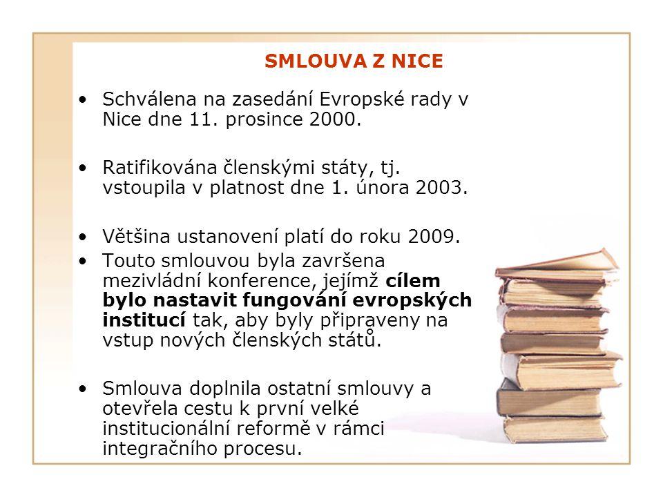 SMLOUVA Z NICE Schválena na zasedání Evropské rady v Nice dne 11. prosince 2000. Ratifikována členskými státy, tj. vstoupila v platnost dne 1. února 2