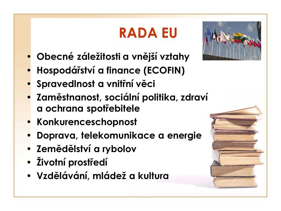 RADA EU Obecné záležitosti a vnější vztahy Hospodářství a finance (ECOFIN) Spravedlnost a vnitřní věci Zaměstnanost, sociální politika, zdraví a ochra
