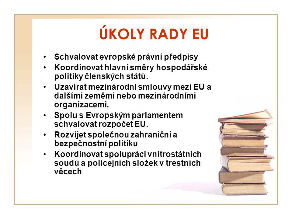 ÚKOLY RADY EU Schvalovat evropské právní předpisy Koordinovat hlavní směry hospodářské politiky členských států. Uzavírat mezinárodní smlouvy mezi EU
