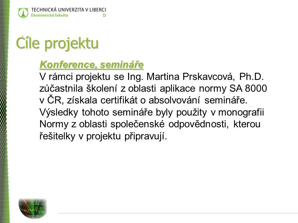 Cíle projektu Konference, semináře V rámci projektu se Ing.