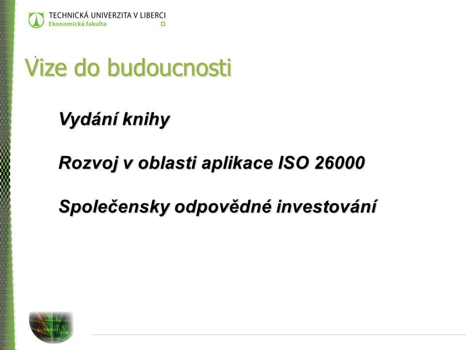 . Vize do budoucnosti Vydání knihy Rozvoj v oblasti aplikace ISO 26000 Společensky odpovědné investování