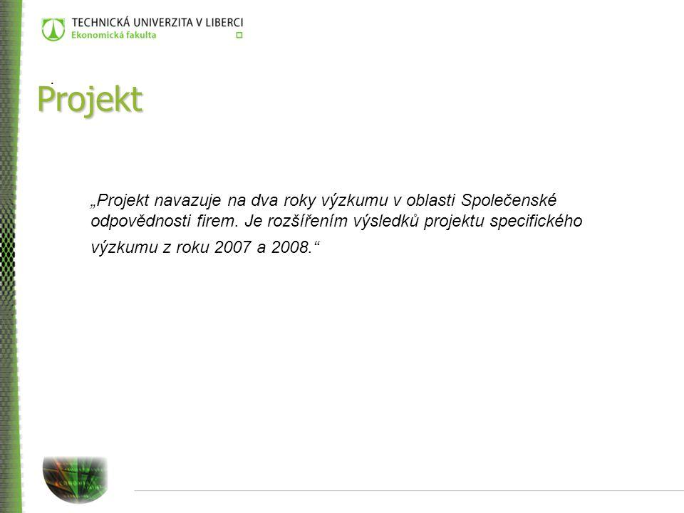 """Projekt """"Projekt navazuje na dva roky výzkumu v oblasti Společenské odpovědnosti firem."""