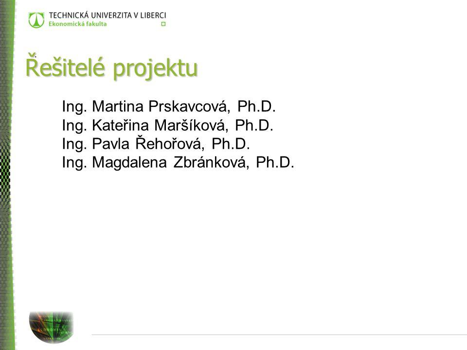 Řešitelé projektu Ing. Martina Prskavcová, Ph.D. Ing.