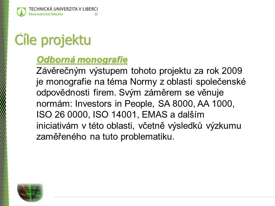 Cíle projektu Odborná monografie Závěrečným výstupem tohoto projektu za rok 2009 je monografie na téma Normy z oblasti společenské odpovědnosti firem.