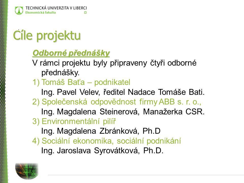 Cíle projektu Odborné přednášky V rámci projektu byly připraveny čtyři odborné přednášky.