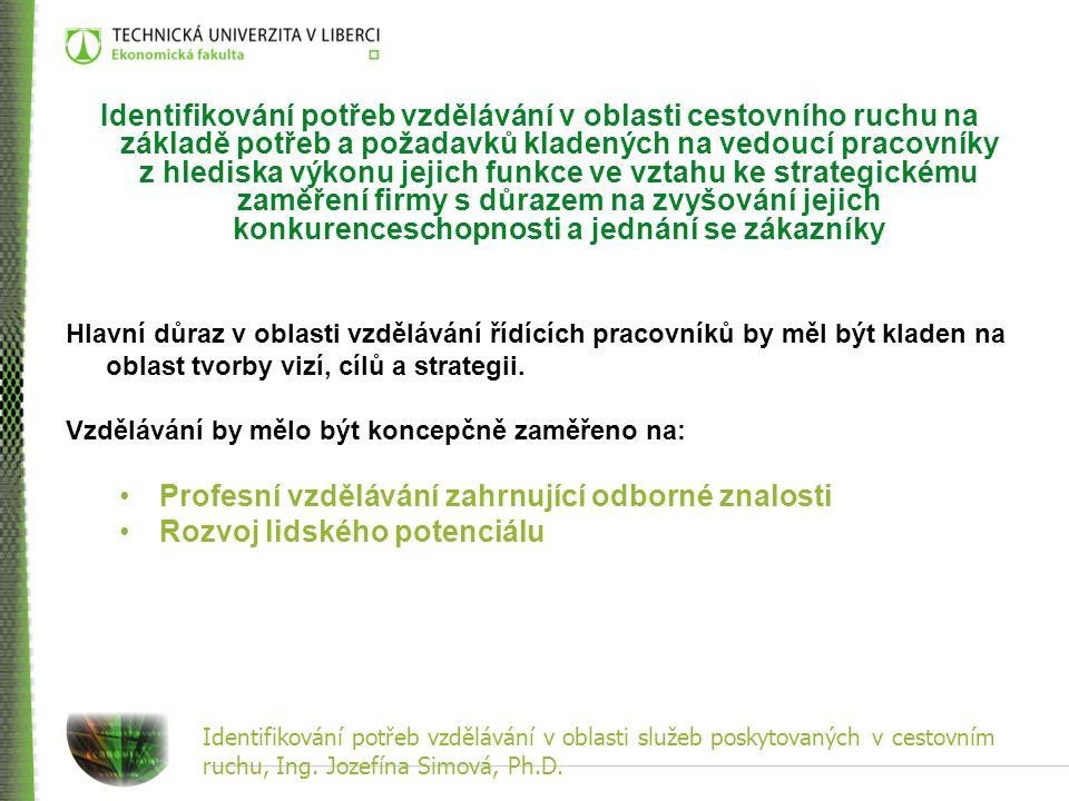 Identifikování potřeb vzdělávání v oblasti služeb poskytovaných v cestovním ruchu, Ing. Jozefína Simová, Ph.D. Identifikování potřeb vzdělávání v obla