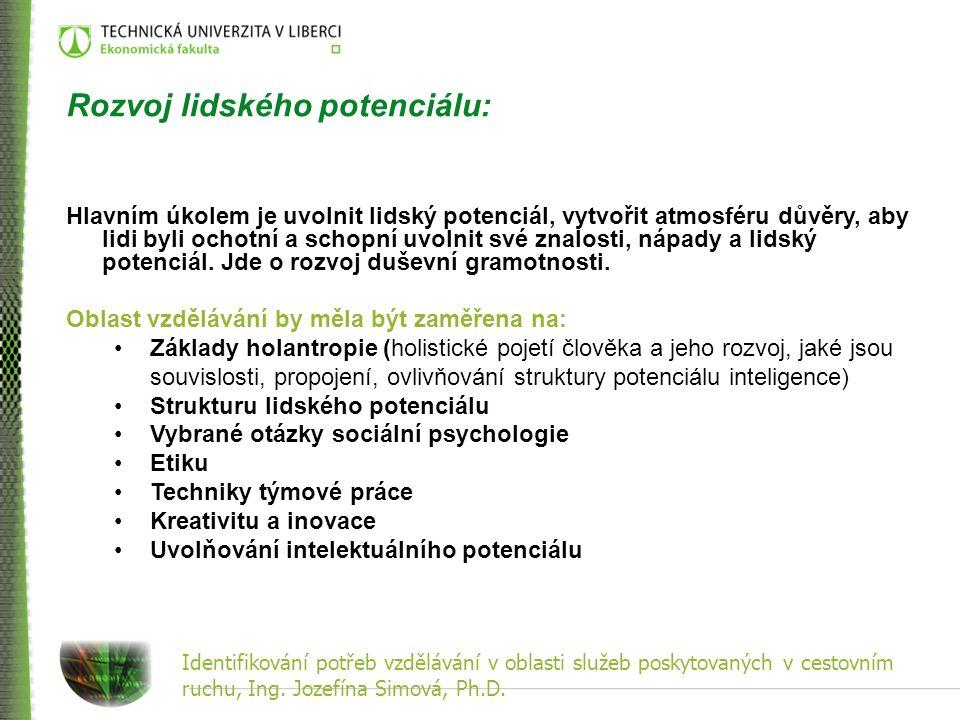 Identifikování potřeb vzdělávání v oblasti služeb poskytovaných v cestovním ruchu, Ing. Jozefína Simová, Ph.D. Rozvoj lidského potenciálu: Hlavním úko