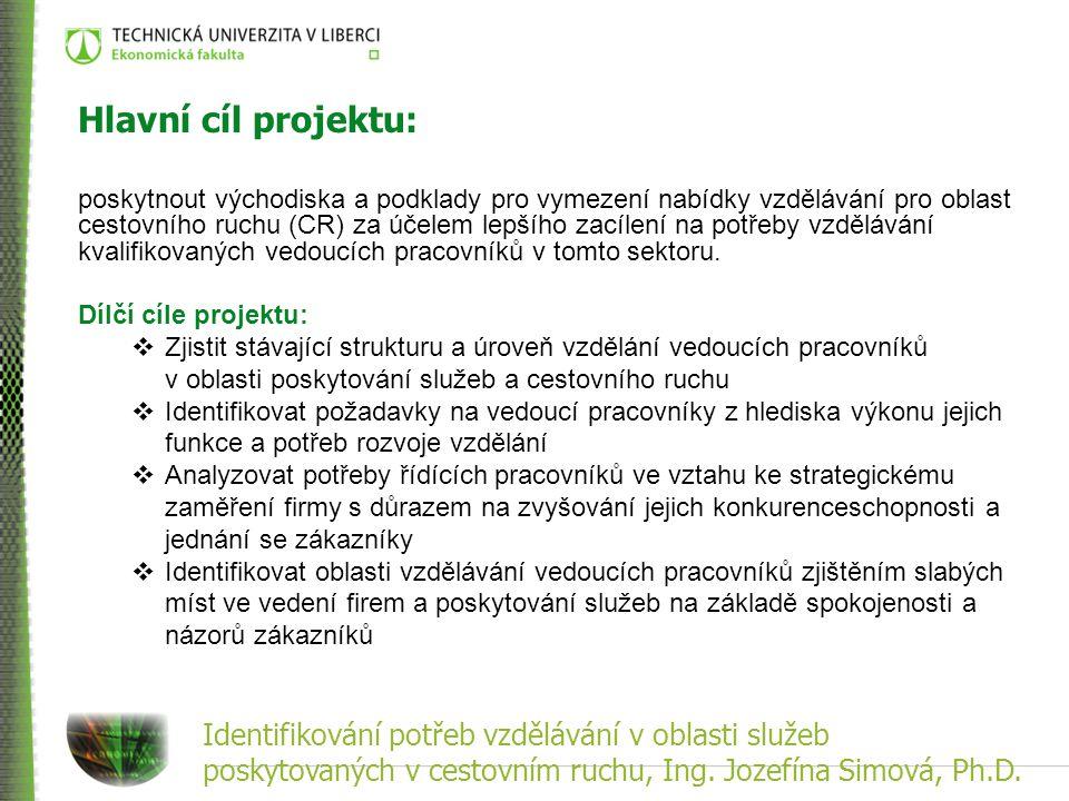 Identifikování potřeb vzdělávání v oblasti služeb poskytovaných v cestovním ruchu, Ing. Jozefína Simová, Ph.D. Hlavní cíl projektu: poskytnout východi