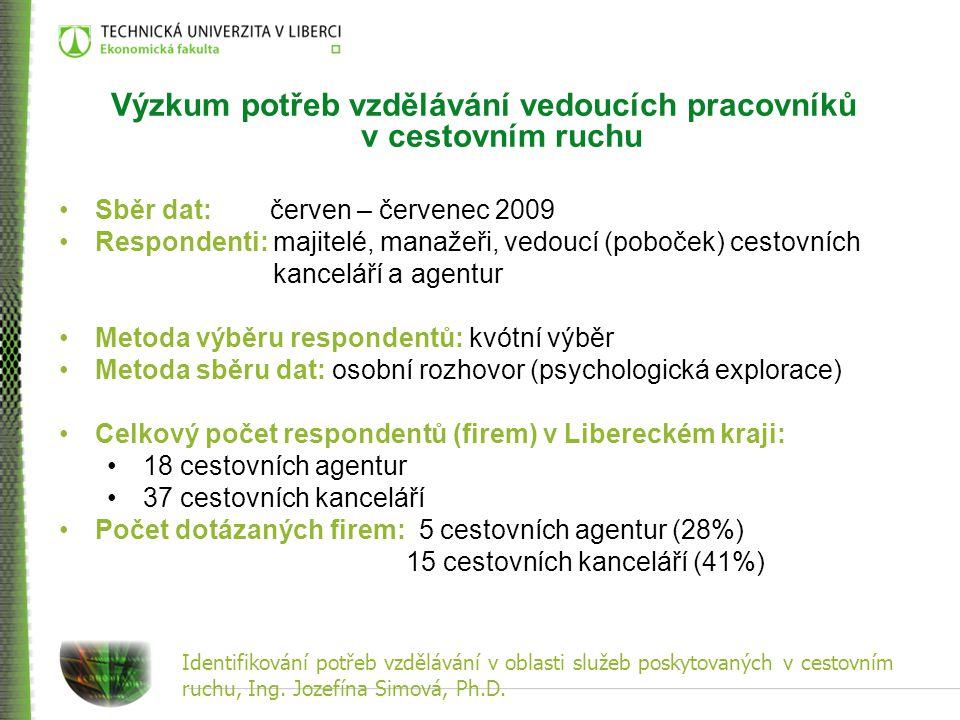 Identifikování potřeb vzdělávání v oblasti služeb poskytovaných v cestovním ruchu, Ing. Jozefína Simová, Ph.D. Výzkum potřeb vzdělávání vedoucích prac