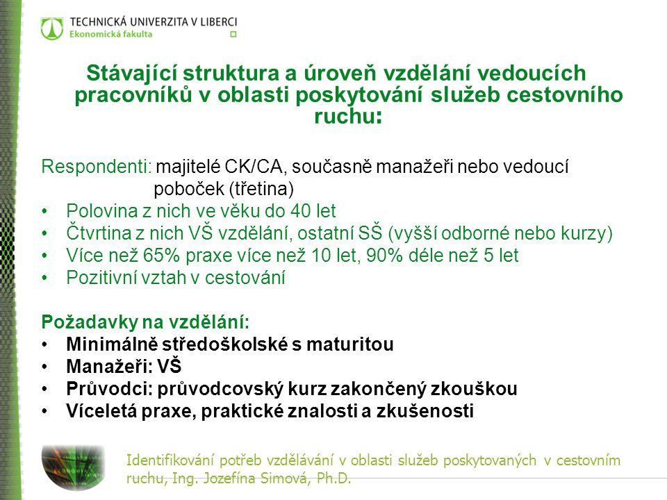 Identifikování potřeb vzdělávání v oblasti služeb poskytovaných v cestovním ruchu, Ing. Jozefína Simová, Ph.D. Stávající struktura a úroveň vzdělání v