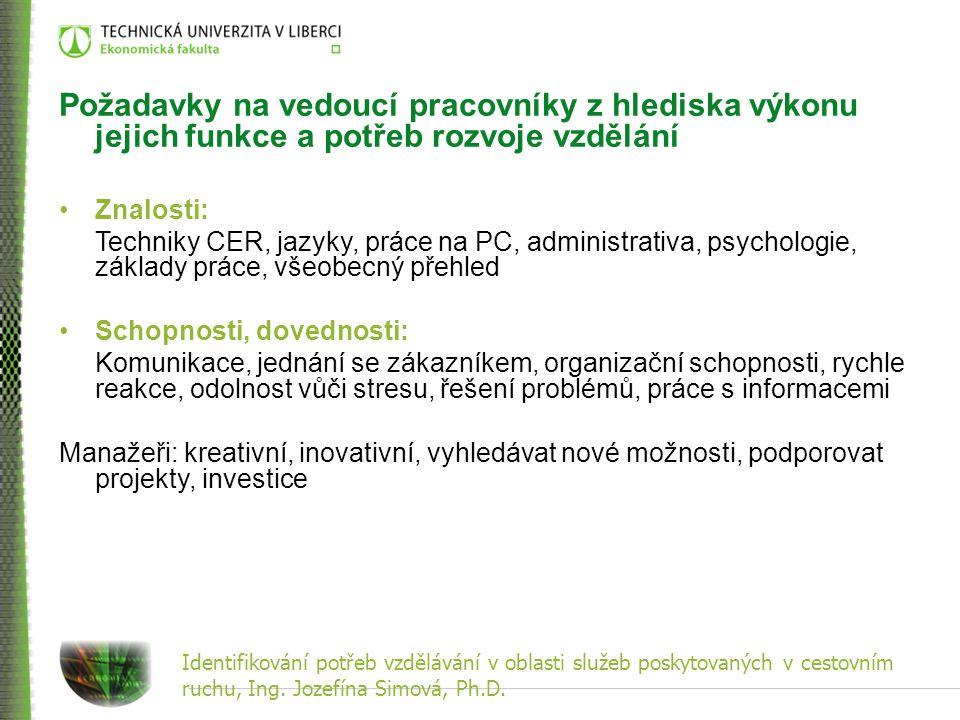 Identifikování potřeb vzdělávání v oblasti služeb poskytovaných v cestovním ruchu, Ing. Jozefína Simová, Ph.D. Požadavky na vedoucí pracovníky z hledi
