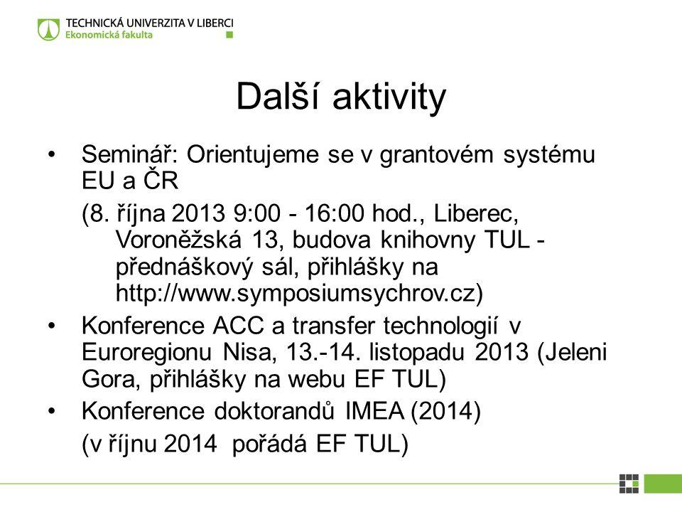 Další aktivity Seminář: Orientujeme se v grantovém systému EU a ČR (8. října 2013 9:00 - 16:00 hod., Liberec, Voroněžská 13, budova knihovny TUL - pře